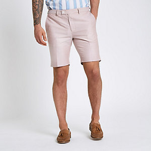 Pink smart skinny fit shorts