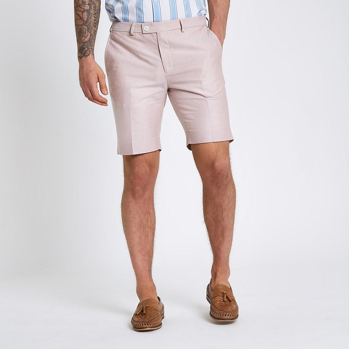 Pink smart skinny fit shorts