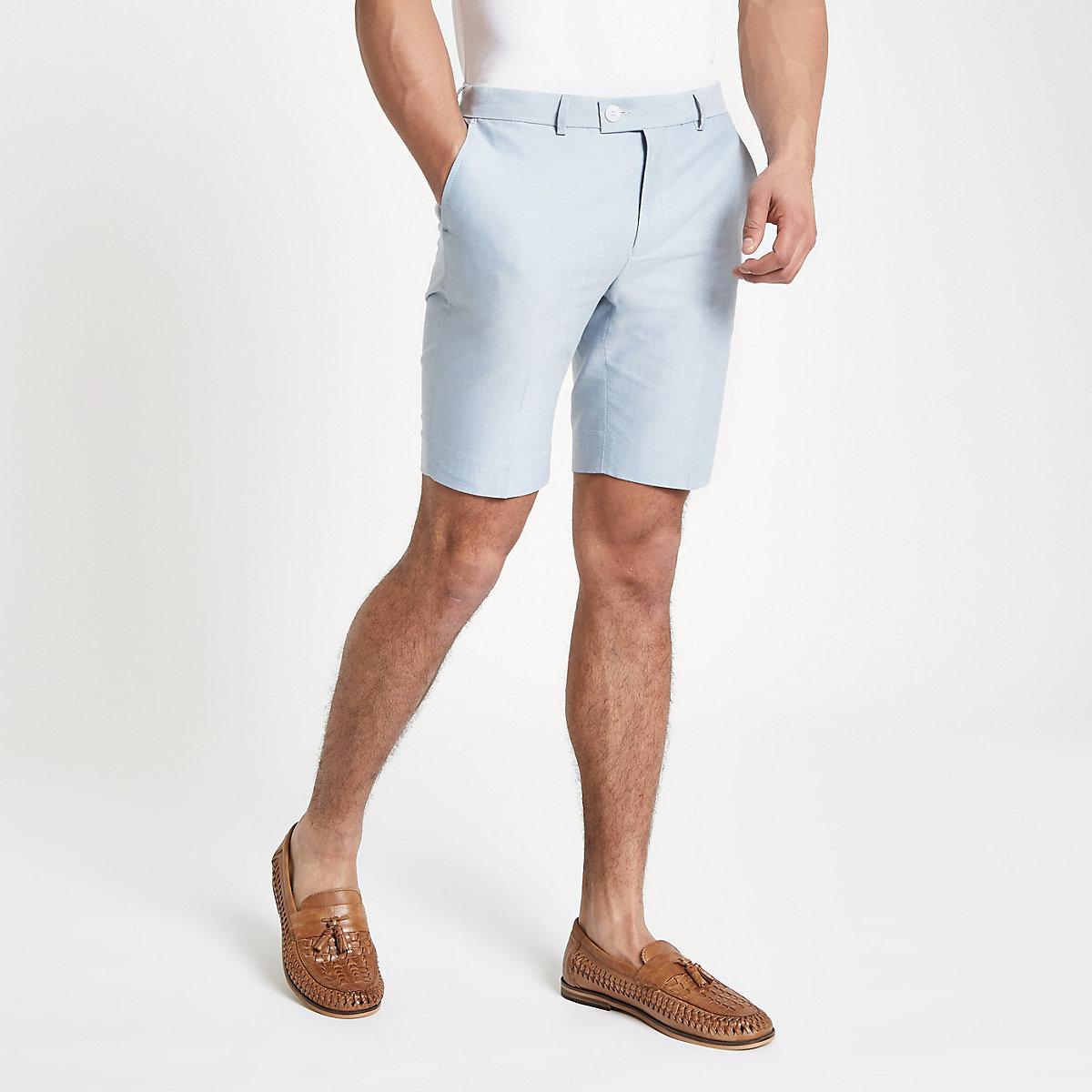 Light blue stripe smart skinny fit  shorts