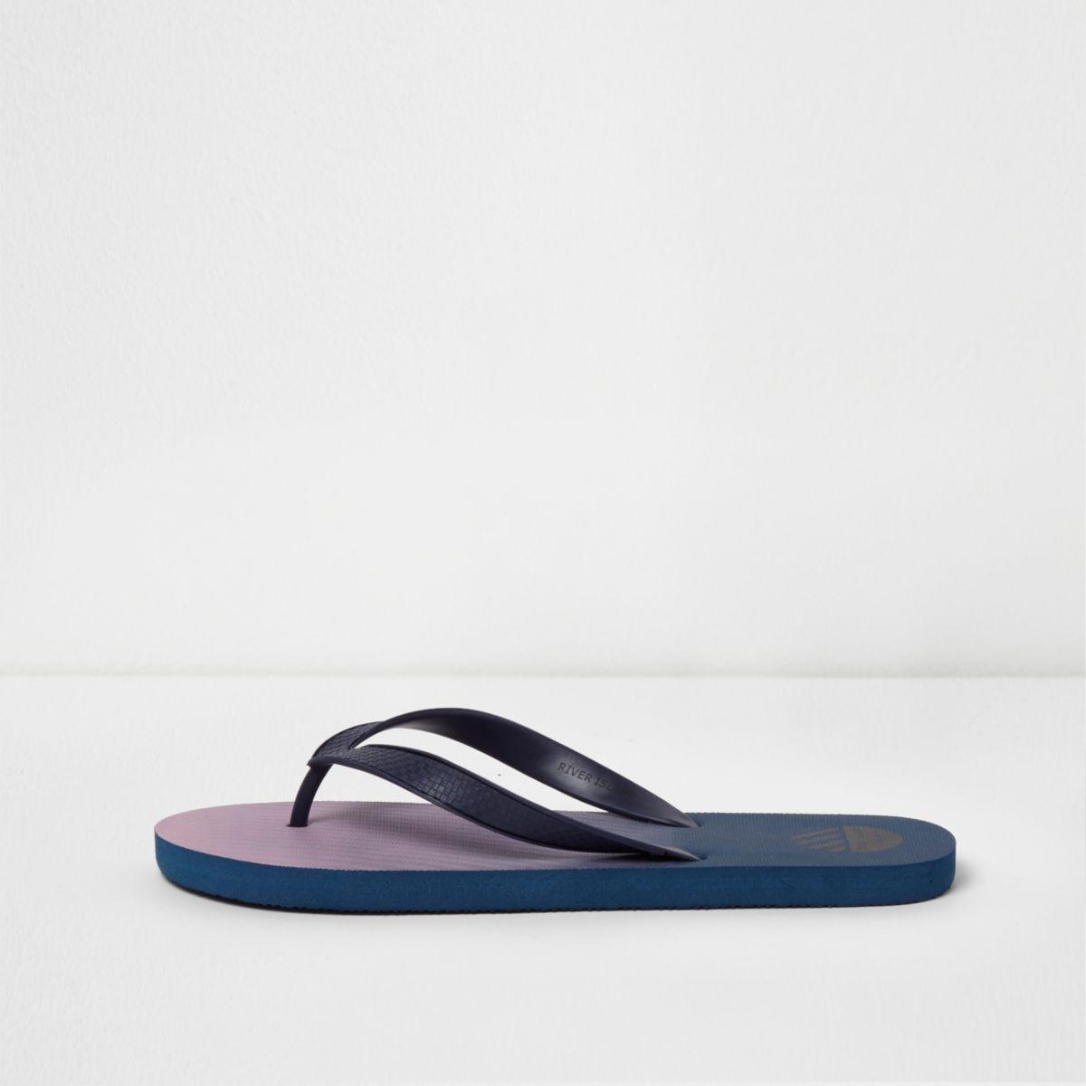 Blue ombre print flip flops