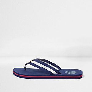 Blue canvas stripe flip flops