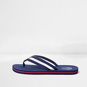 Blauwe gestreepte slippers met canvas