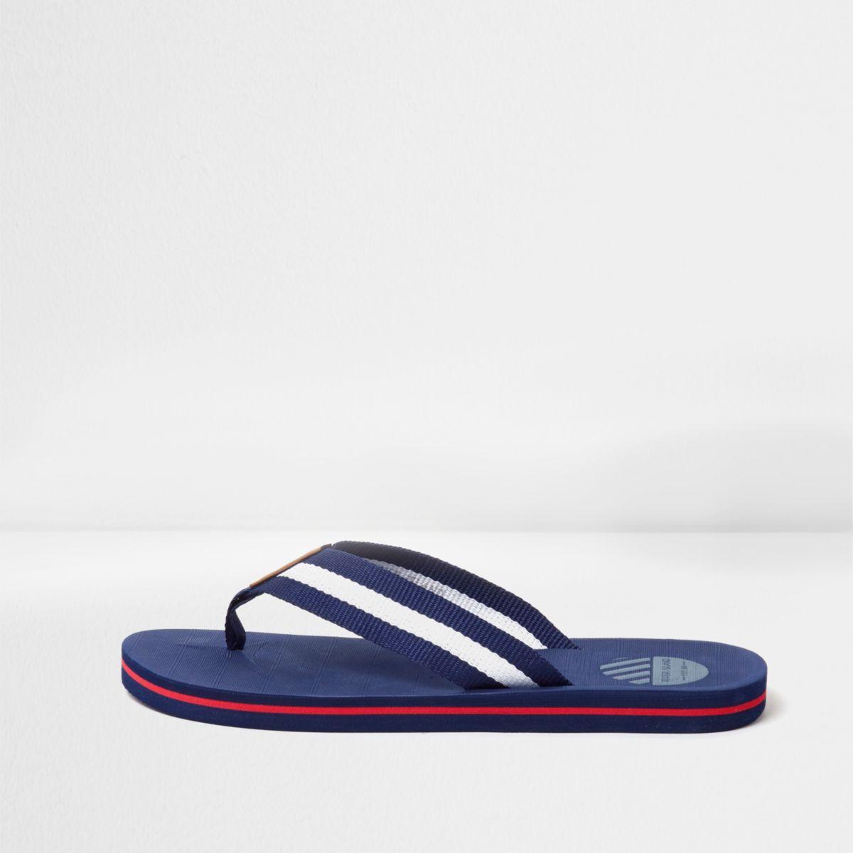 Blue canvas stripe flip flops