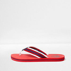Rode gestreepte slippers met canvas
