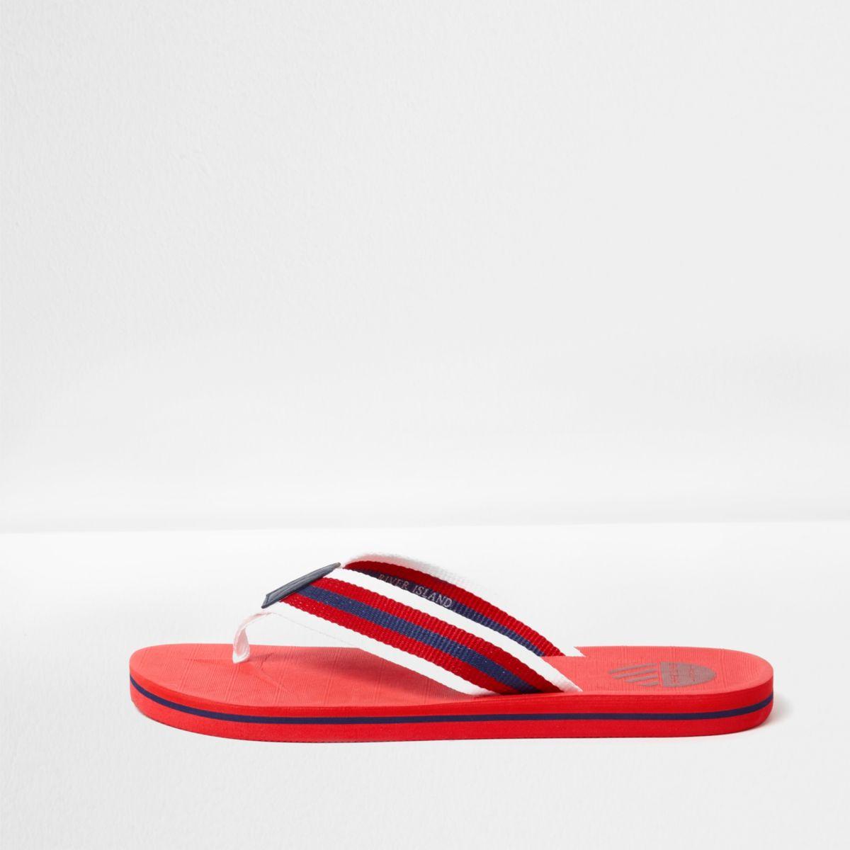 Red canvas stripe flip flops
