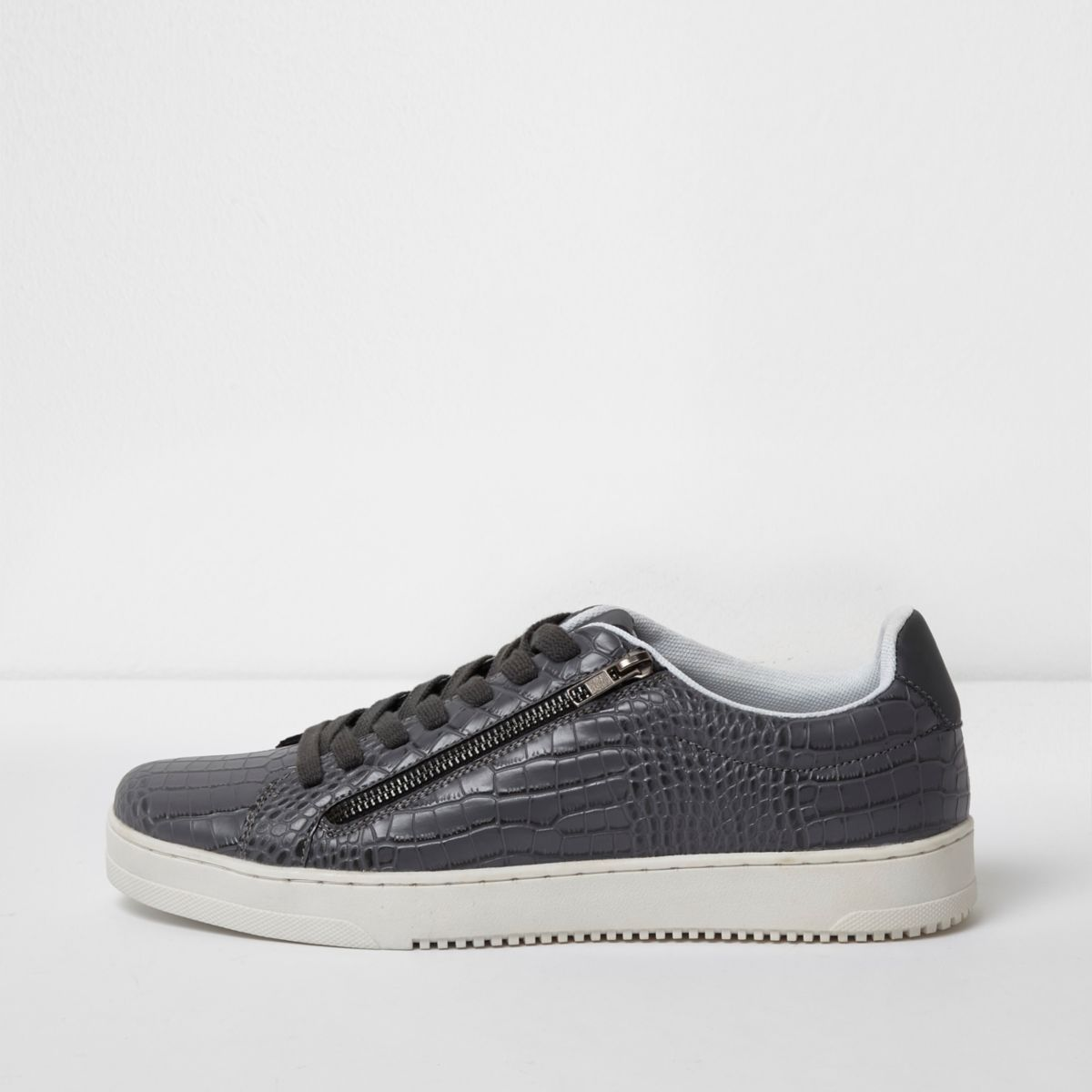 Grey croc embossed lace-up plimsolls