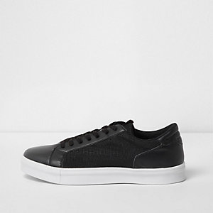 Black mesh side panel lace-up trainers