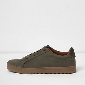 Khaki green gum sole lace-up plimsolls