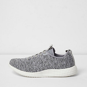 Grey knitted lace-up trainers