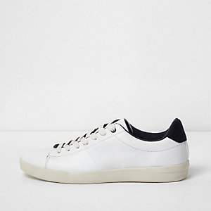 White perforated lace-up trainers