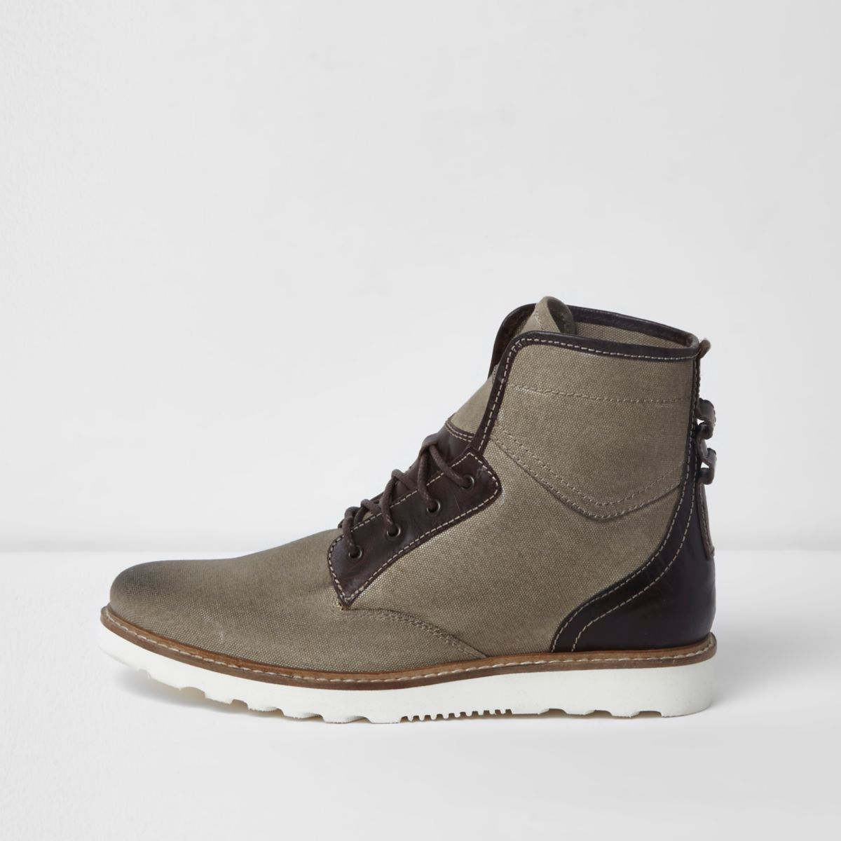 Khaki lace-up canvas work boots