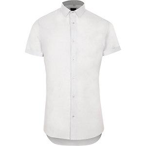 Wit skinny-fit overhemd met textuur en korte mouwen