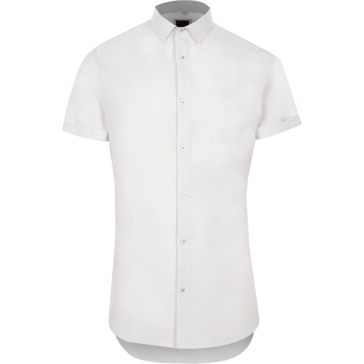 White textured skinny fit short sleeve shirt