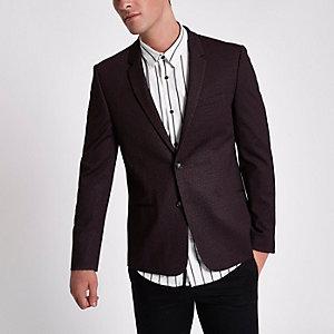 Burgundy skinny fit blazer