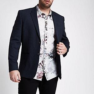 Big and Tall – Blazer en jersey bleu marine