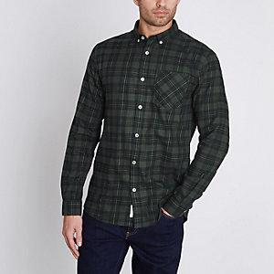 Grün kariertes langärmeliges Hemd