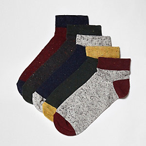 Green neppy sneaker socks multipack