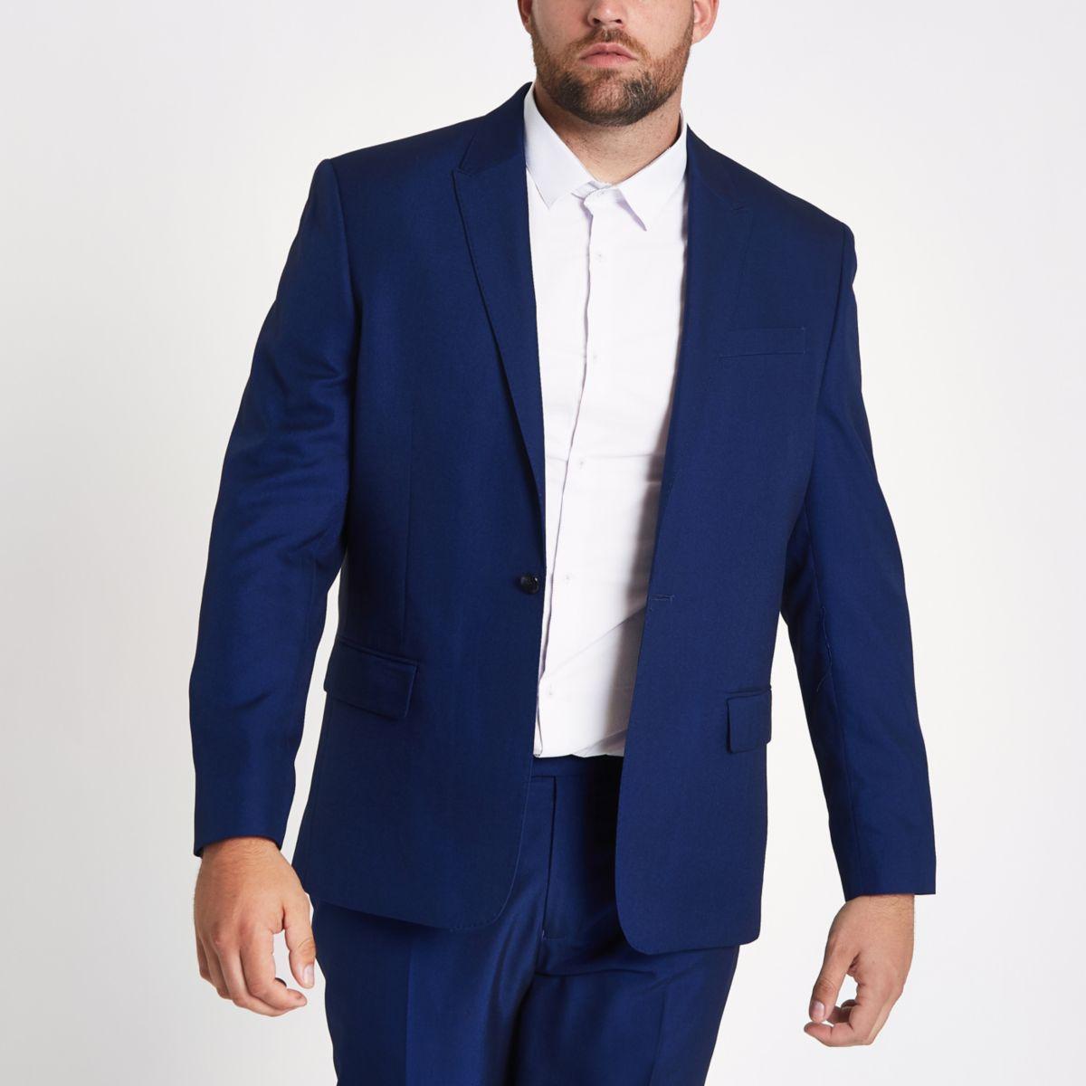 Big & Tall – Blaue Slim Fit Anzugsjacke