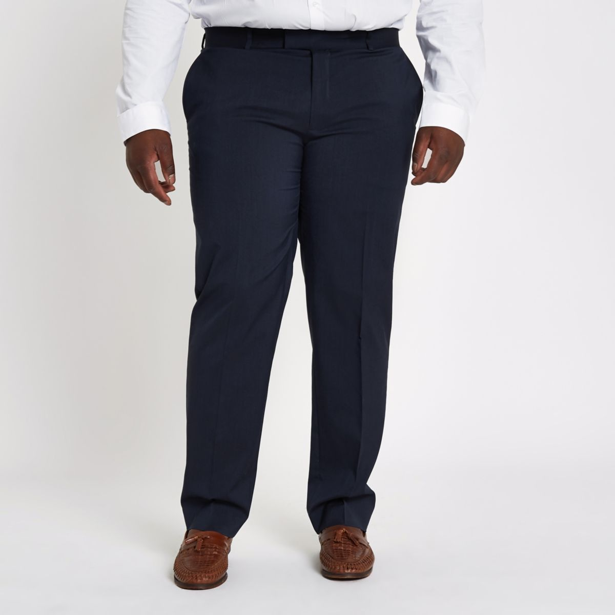 Big and Tall navy suit trousers