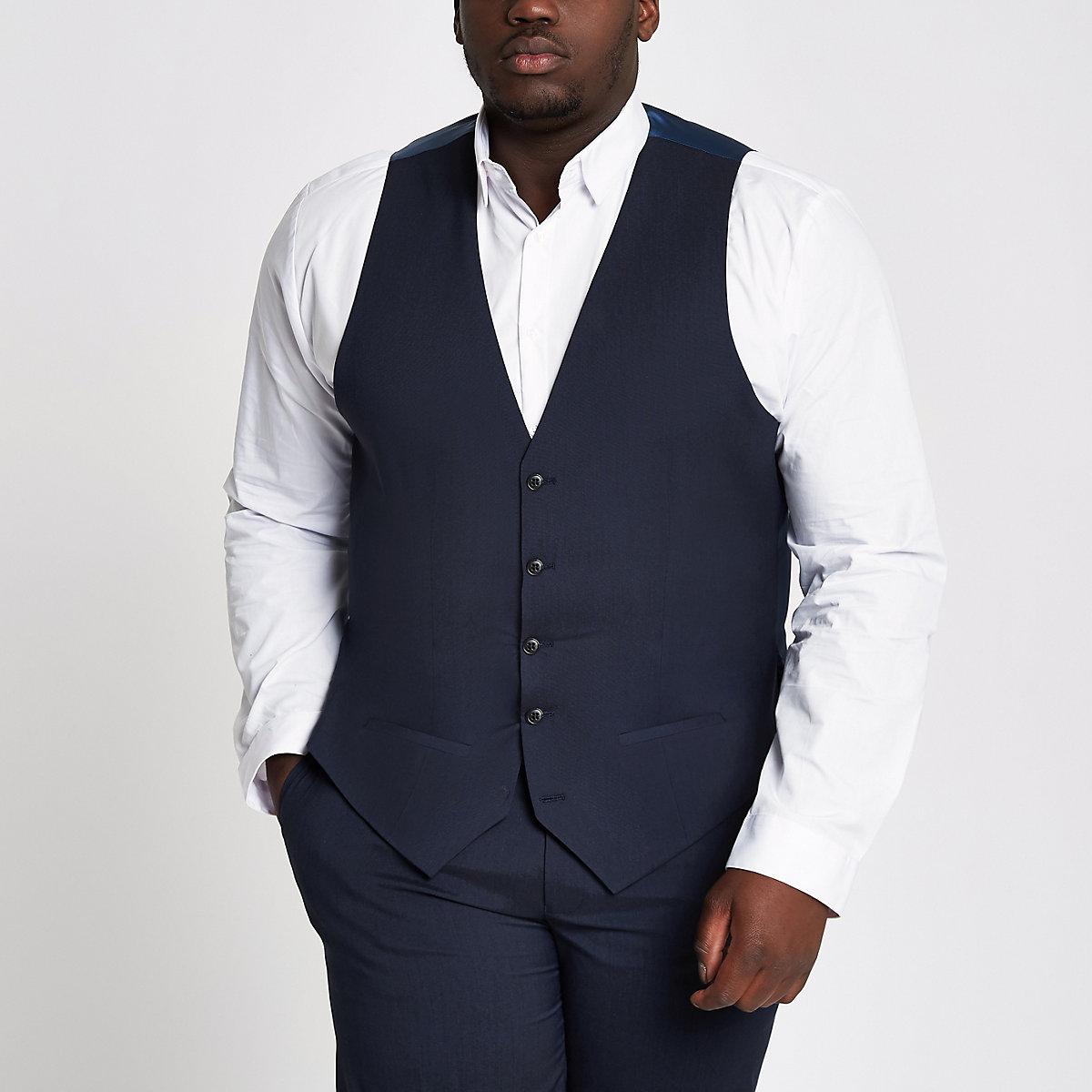 Big and Tall navy waistcoat