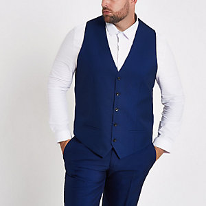 Big and Tall blue single-breasted vest