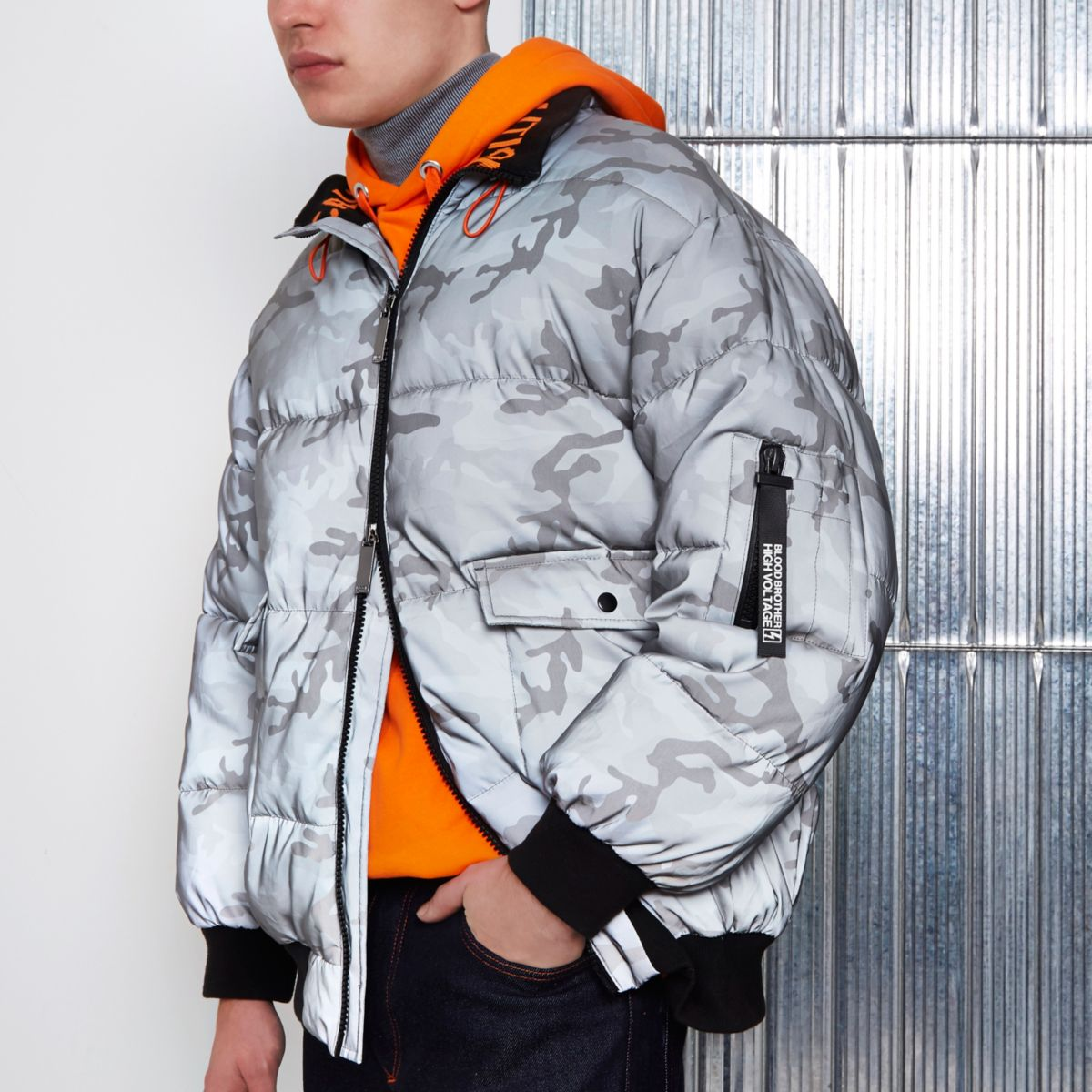 Grey Blood Brother camo print puffer jacket