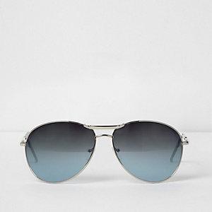 Silberfarbene Pilotensonnenbrille