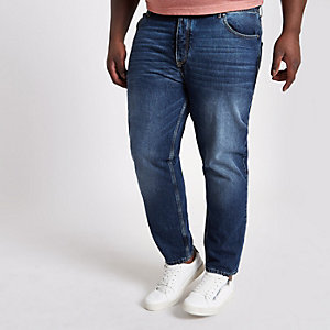 Big & Tall – Jimmy – Mittelblaue Karottenjeans