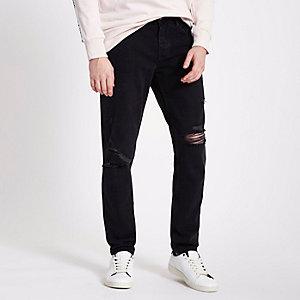 Jimmy - Zwarte washed ripped jeans met smaltoelopende pijpen