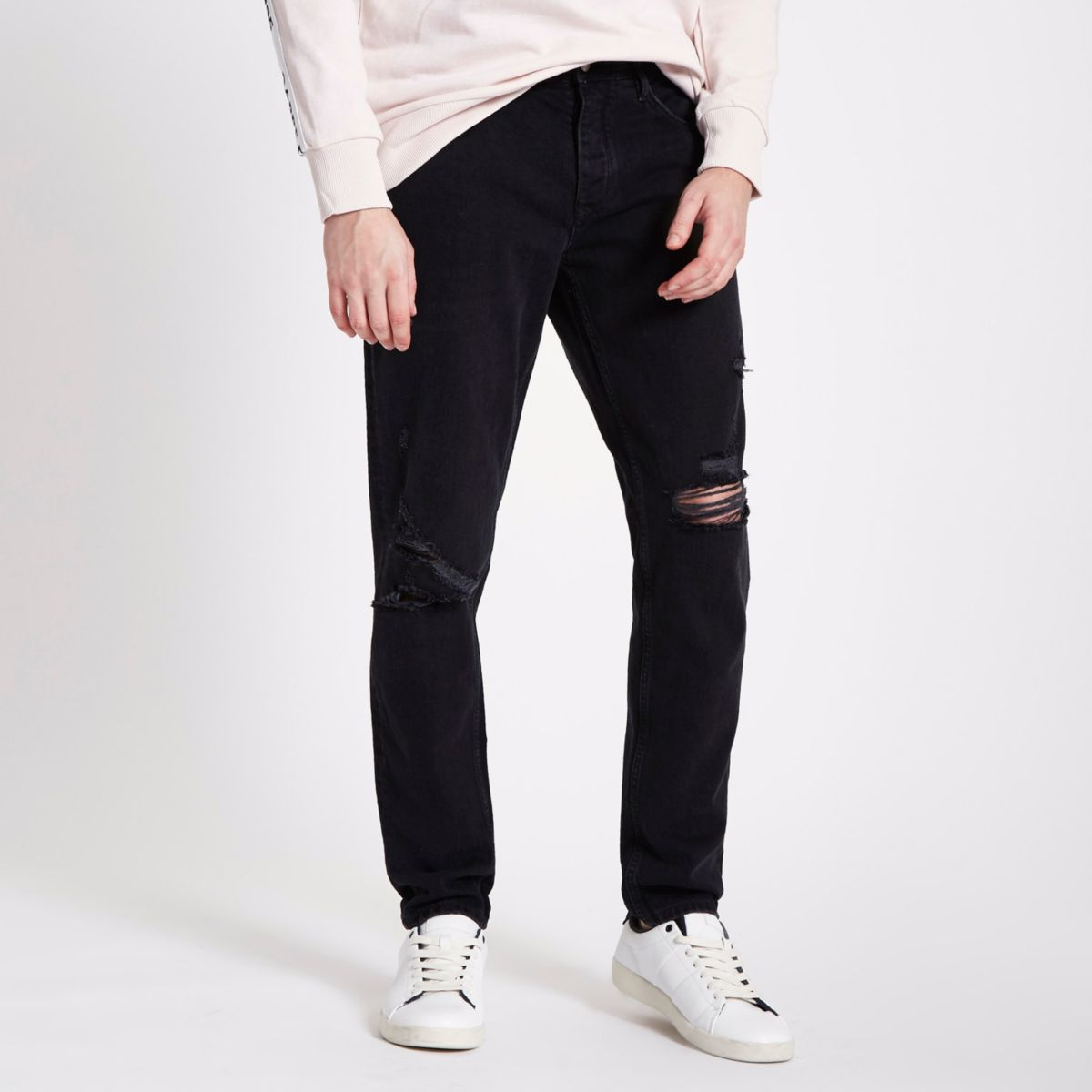 Washed black Jimmy ripped tapered jeans