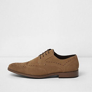 Tan faux suede brogues