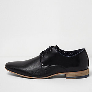 Black textured lace-up formal shoes