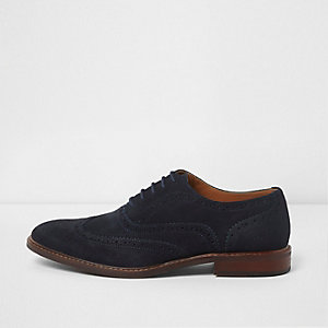 Navy suede lace-up brogues