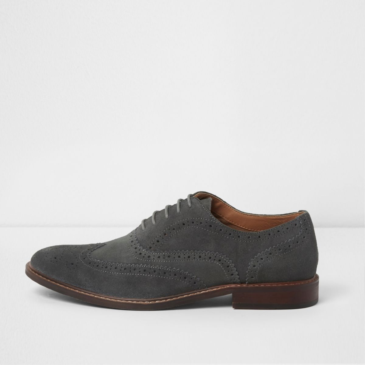 Grey suede lace-up brogues