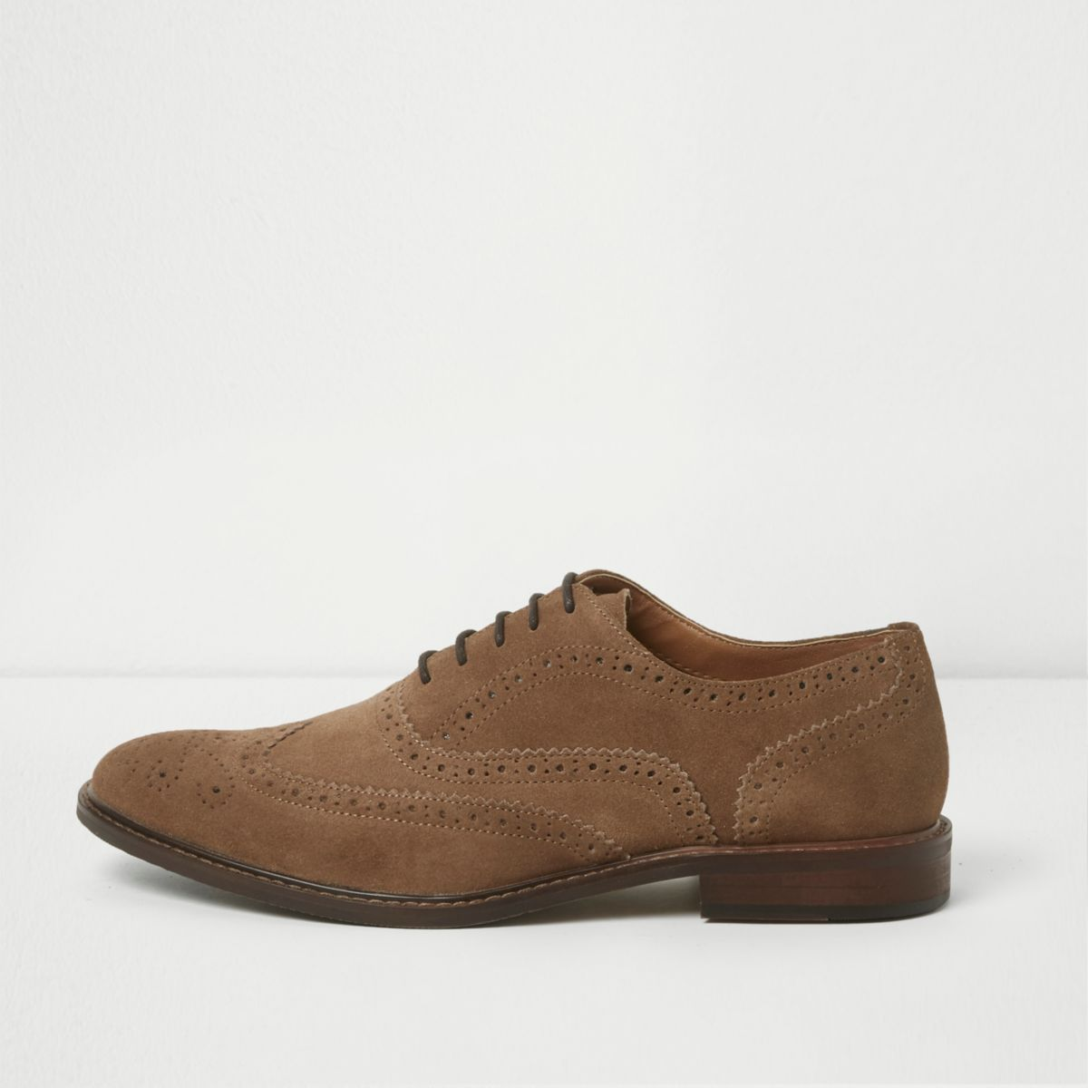 Stone suede lace-up brogues