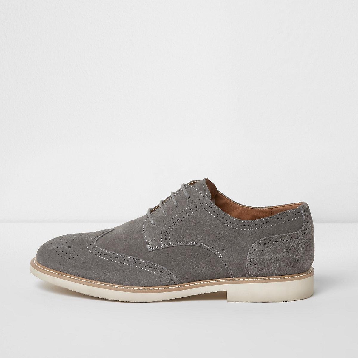 Grey suede contrast sole brogues