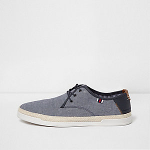Blue espadrille trim lace-up trainers