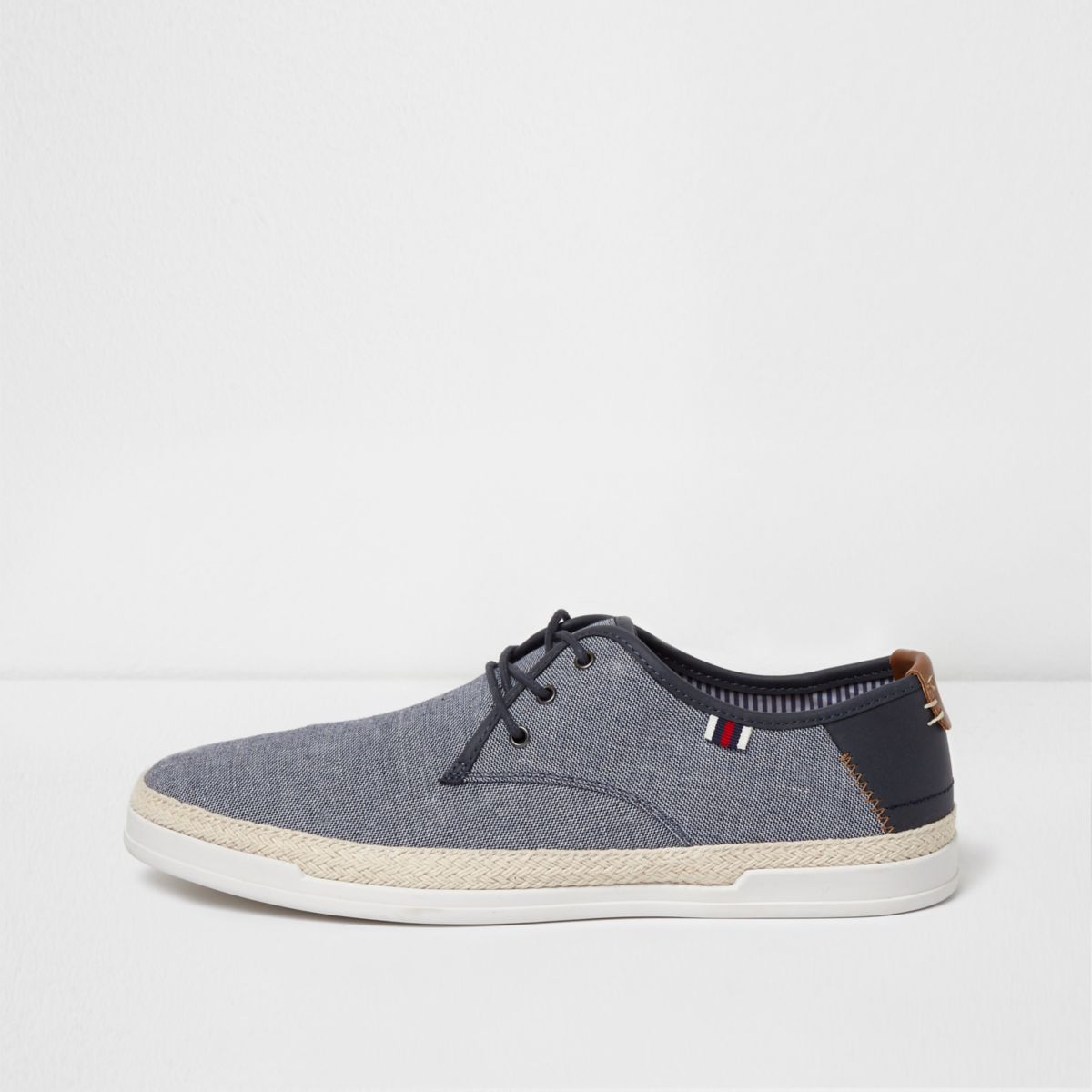 Blue espadrille trim lace-up sneakers