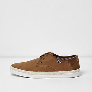 Tan espadrille trim lace-up trainers