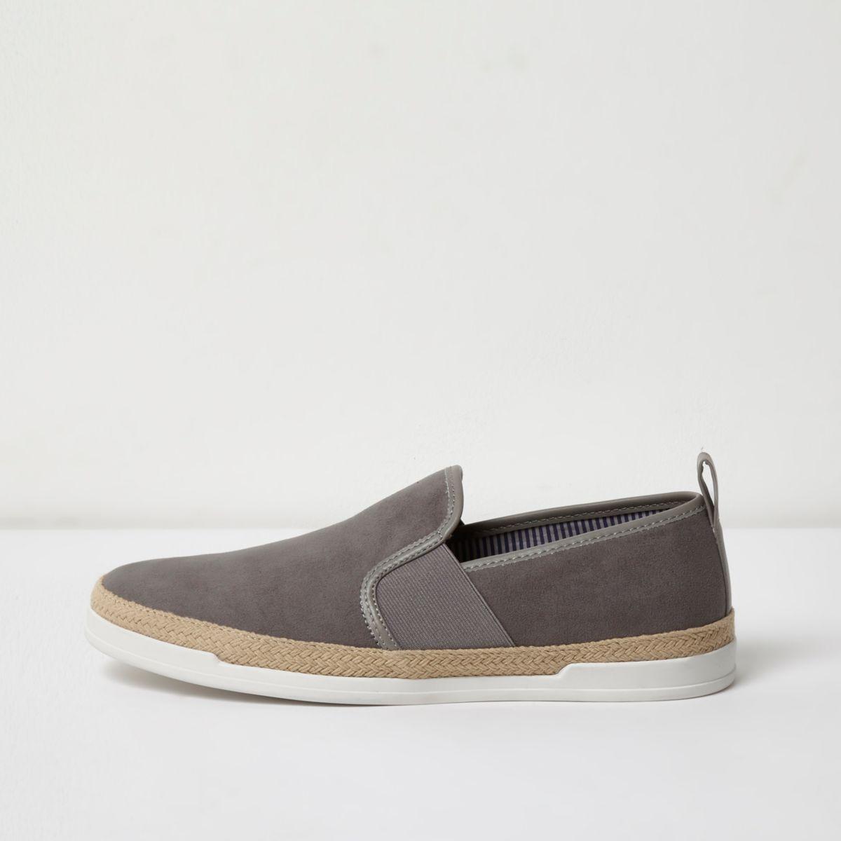 Grey espadrille trim slip on plimsolls