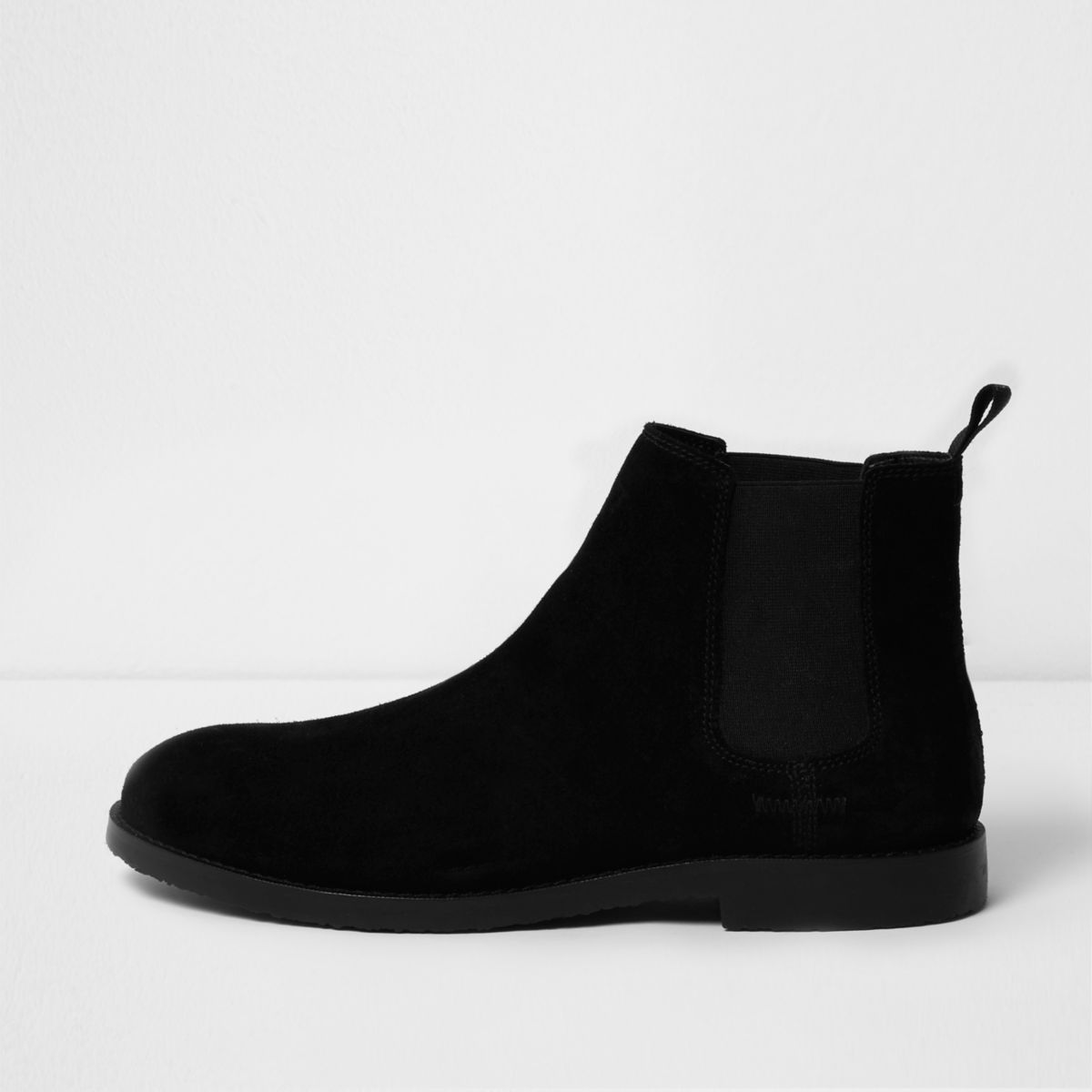 Mens Shoes Boots Casual River Island D Slip On Mocasine Brown Black Suede Chelsea