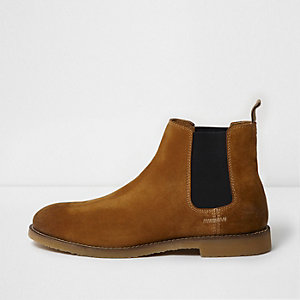 Bottines chelsea en daim marron fauve