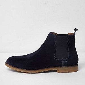Marineblaue Chelsea-Stiefel aus Wildleder