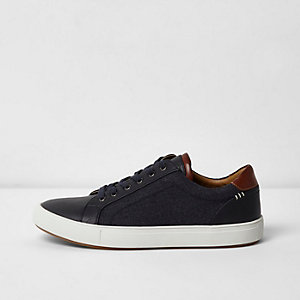 Navy denim side lace-up sneakers