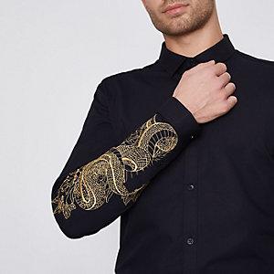 Slim Fit Hemd mit Stickerei an den Ärmeln
