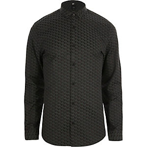 Black geo jacquard slim fit shirt