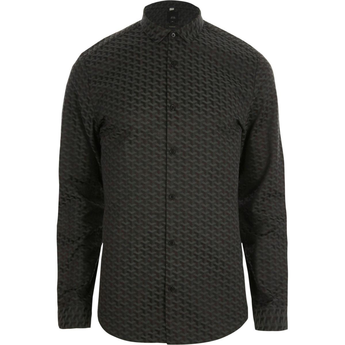 Zwart jacquard slim-fit overhemd met geometrisch motief