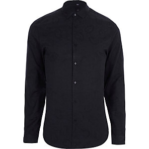 Navy paisley jacquard slim fit shirt