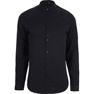 Marineblaues Slim Fit Hemd mit Paisley-Muster