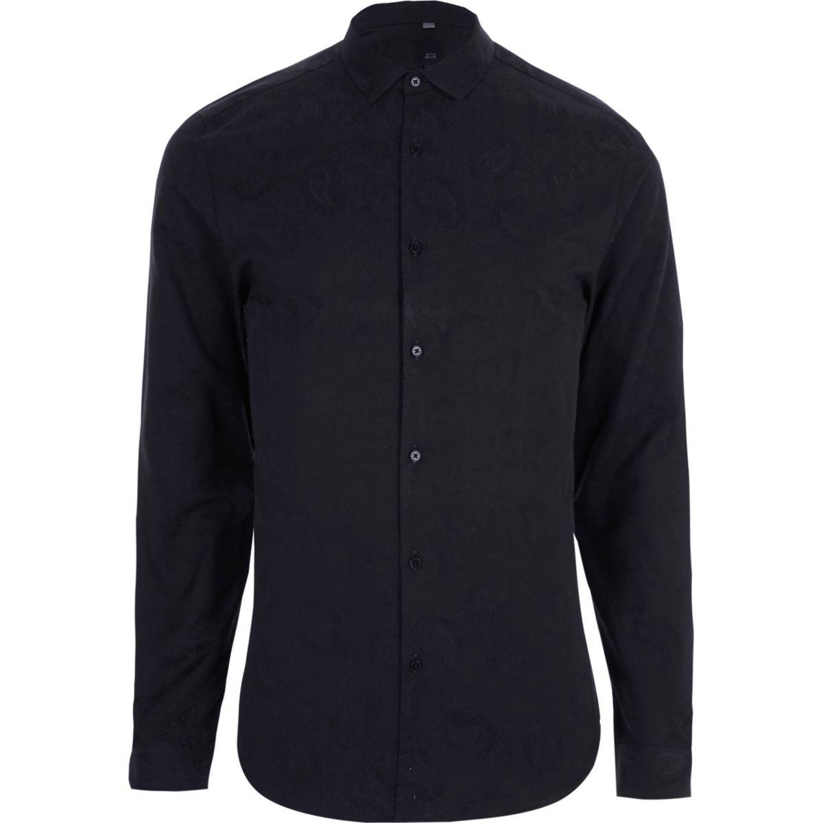 Navy paisley jacquard slim fit shirt